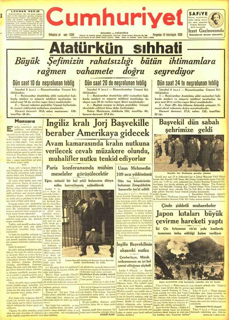 Atatürk'ün Sıhhati - Cumhuriyet Gazetesi