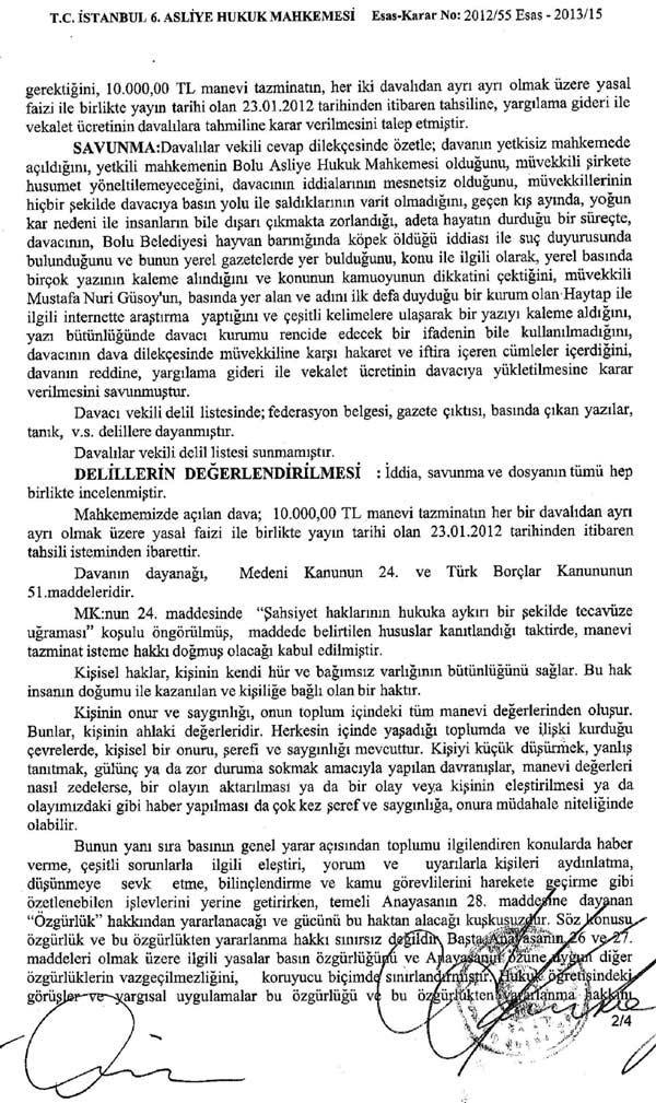 Bolu Gündem Gazetesi HAYTAP'a Hakaretten Tazminata Mahkum Oldu !