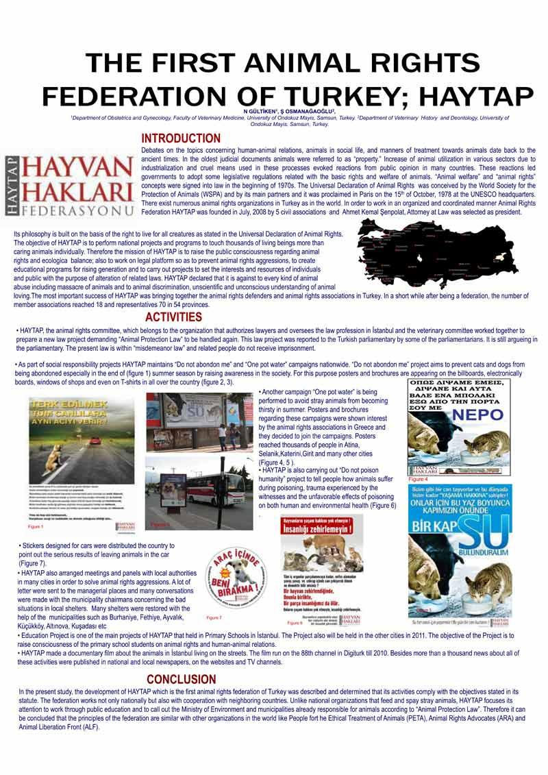 (*) The First Animal Rights Federation Of Turkey; HAYTAP