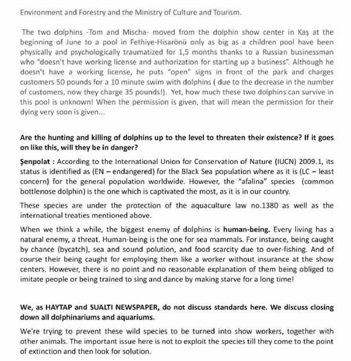 Yunus Parklarının Kapatılması İçin Uluslararası Hayvan Hakları Mahkemesine Dava Dilekçemiz